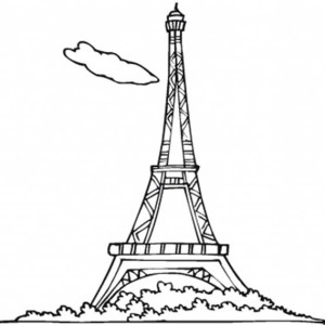 300x300 Eiffel Tower With Clouds Coloring Page Eiffel Tower With Clouds