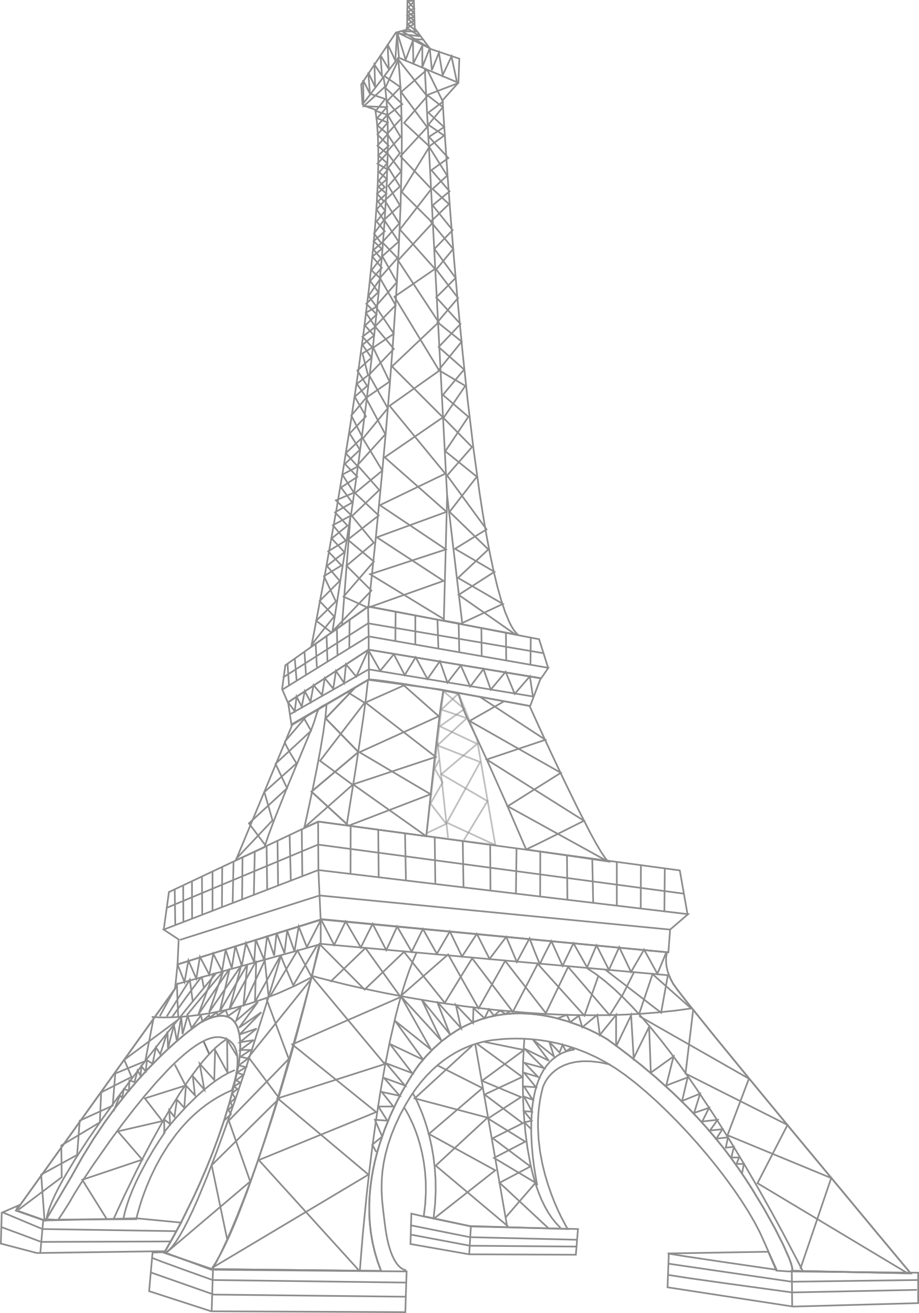 1806x2580 How To Draw The Eiffel Tower Clipart Image