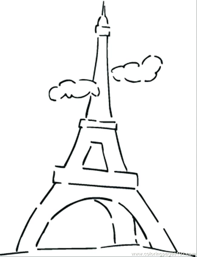 650x845 Eiffel Tower Coloring Pages 17 Also Eiffel Tower Outline Colouring