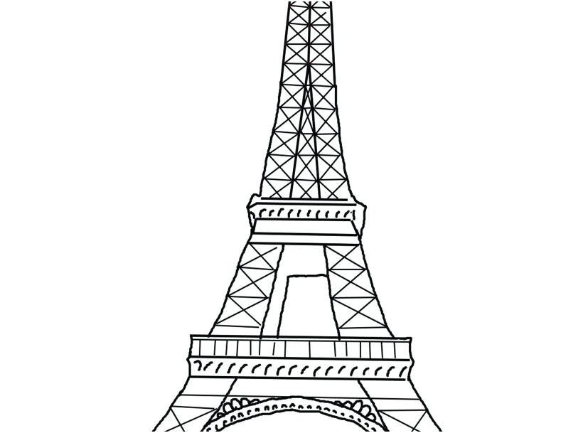 827x609 Eiffel Tower Coloring Pages Paris Printable Outline Colouring Page