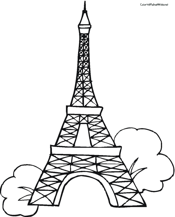 600x742 Eiffel Tower Outline Coloring Pages