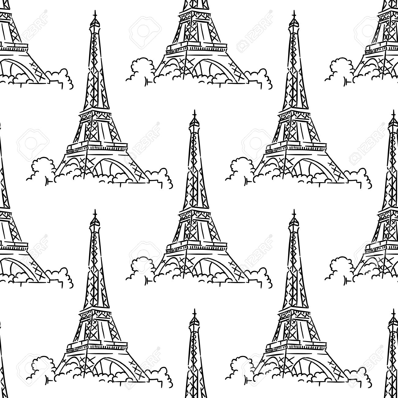 1300x1300 Eiffel Tower Seamless Background Pattern With A Black And White