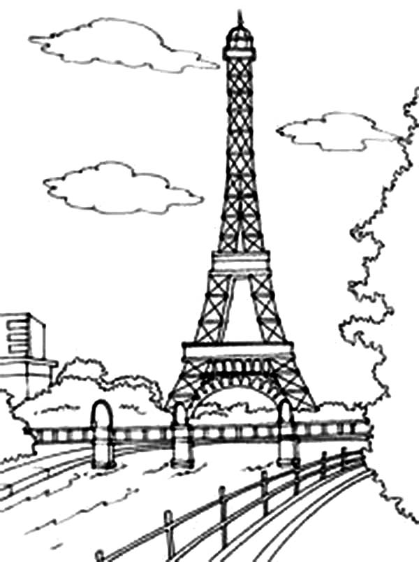 600x804 Beautiful View Of Eiffel Tower Coloring Page