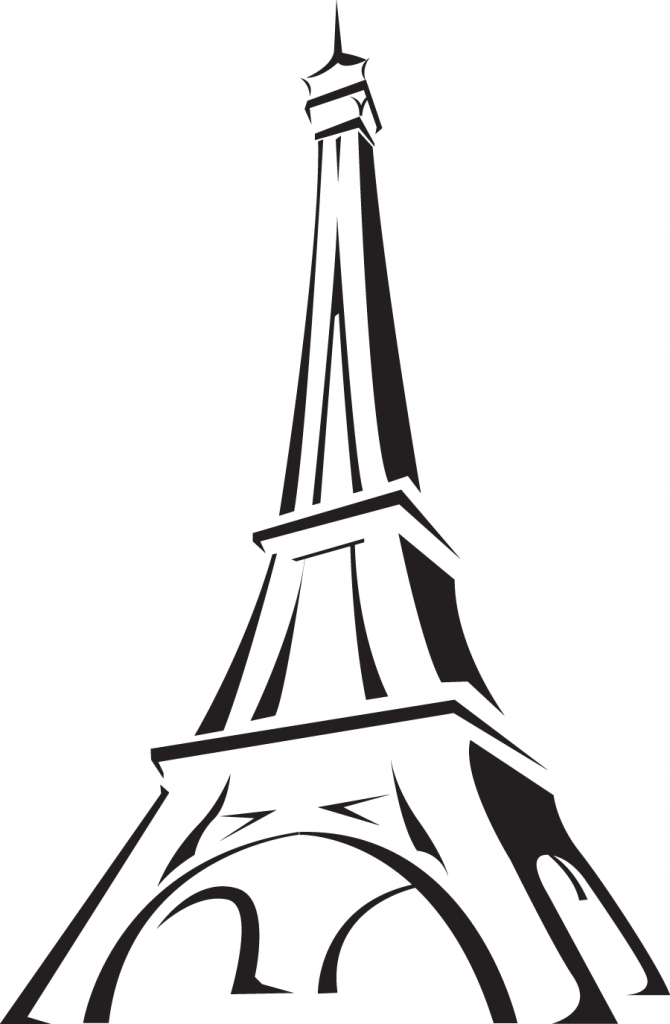 670x1024 cartoon drawing of eiffel tower