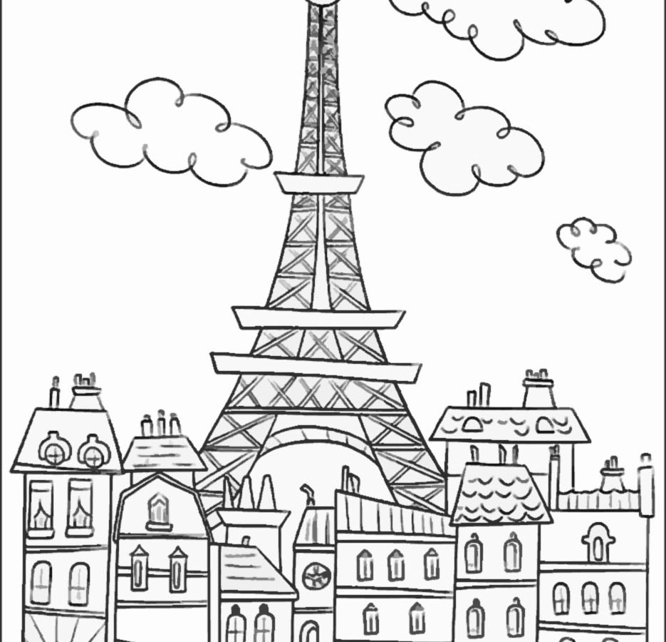 935x900 Eiffel Tower Coloring Page New Picture Pages For Kids Printable
