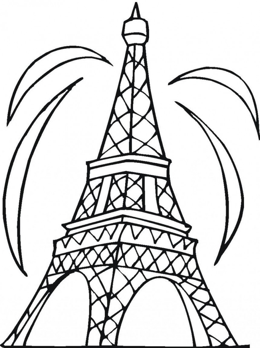 860x1150 Eiffel Tower Coloring Pages