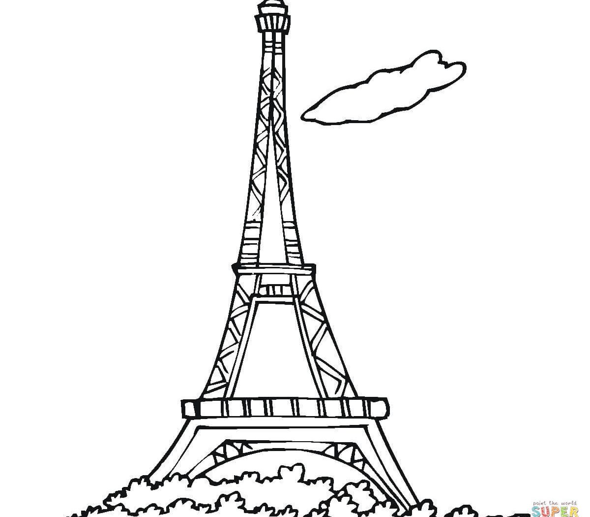 1200x1050 Eiffel Tower Coloring Printable Page For Pages General Paris Color