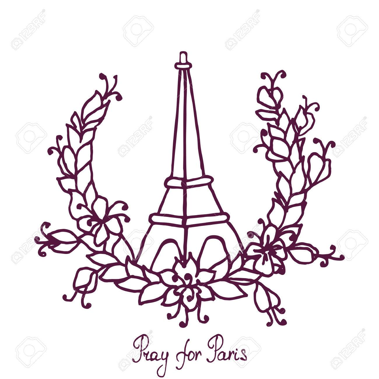 1300x1300 Hand Drawing Eiffel Tower And Floral Wreath. Pray For Paris
