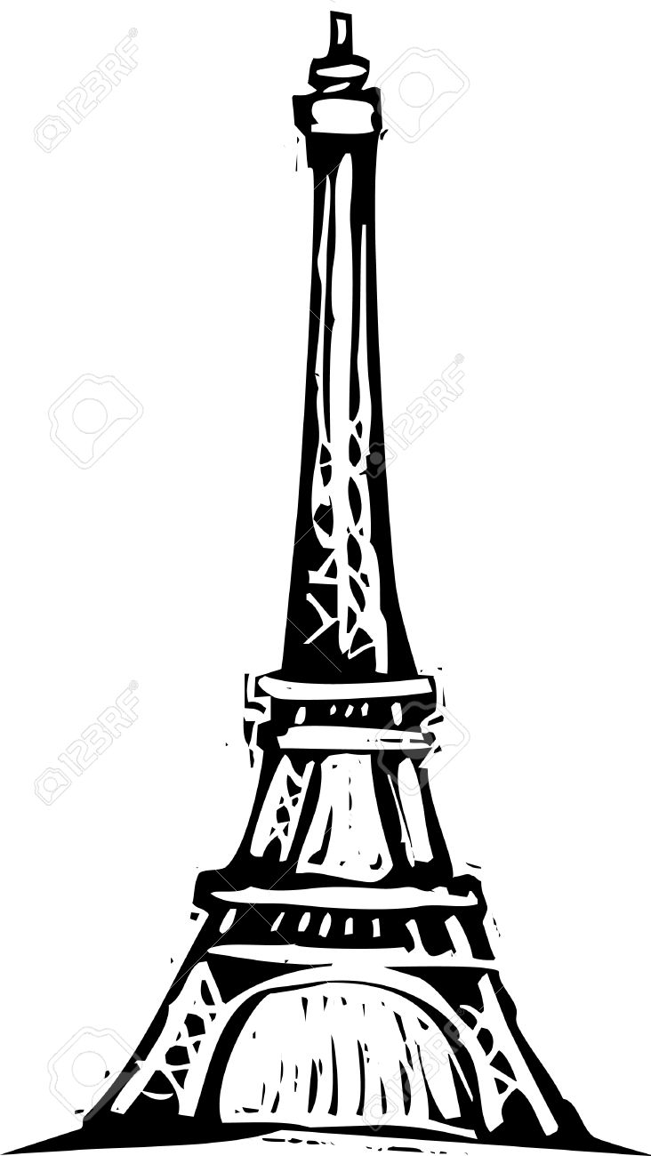 732x1300 Black And White Woodcut Style Illustration Of The Eiffel Tower