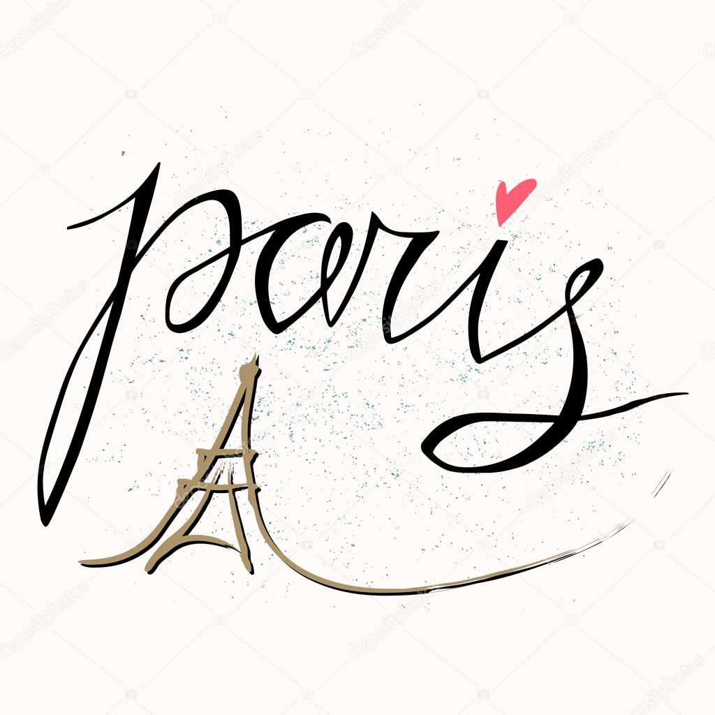 1024x1024 Paris. Vector hand drawn illustration with Eiffel tower. The hand