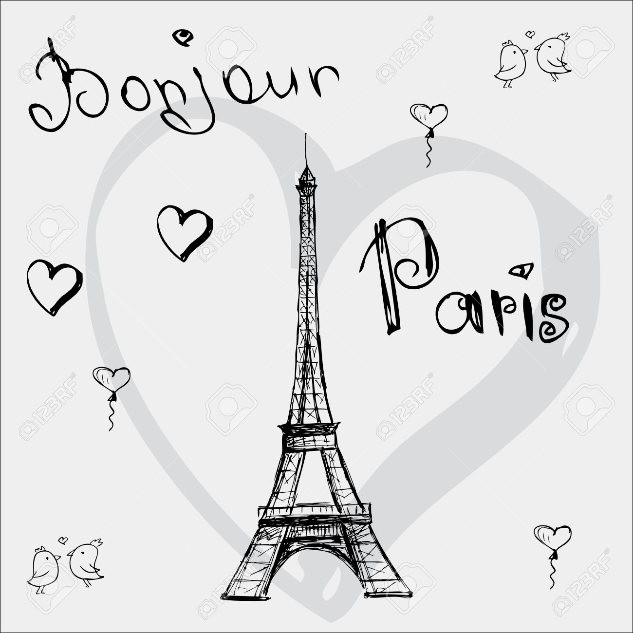 1300x1300 Vector Hand Drawn Illustration With Eiffel Tower. Bonjour Paris