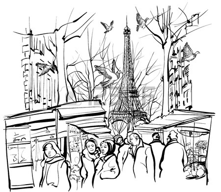 450x391 Vector Illustration Of A View On Paris Roofs With Eiffel Tower