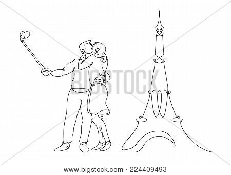 450x341 Continuous Line Drawing Happy Vector amp Photo Bigstock