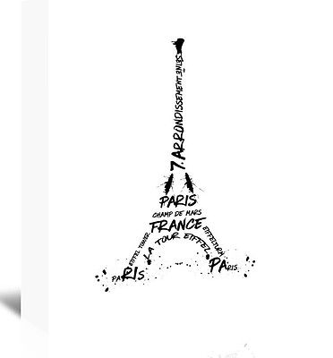 372x400 Digital Art Eiffel Tower Textual Art On Wrapped Canvas In Black