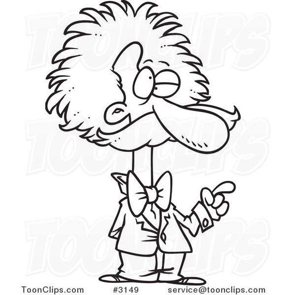 581x600 Cartoon Black And White Line Drawing Of Einstein Gesturing