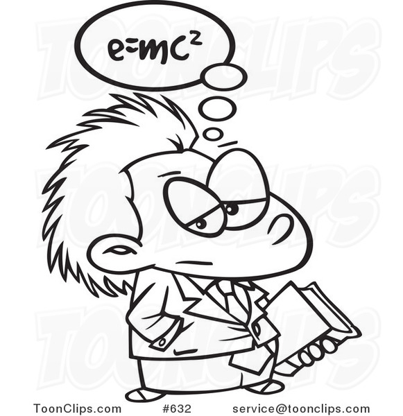 581x600 Cartoon Line Art Of Little Einstein Carrying A Book