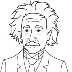 250x250 Albert Einstein Drawing, Pencil, Sketch, Colorful, Realistic Art