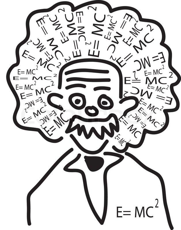 629x800 Einstein Head With His Theory As Hair Stock Vector Colourbox