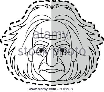 363x320 Albert Einstein Face, Vector Illustration Flat Design Stock Vector