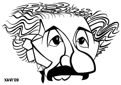 500x351 Albert Einstein By Xavi Caricatura Famous People Cartoon Toonpool