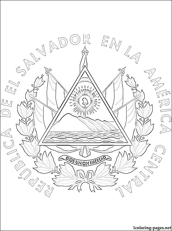 560x750 El Salvador Coat Of Arms Coloring Page Coloring Pages
