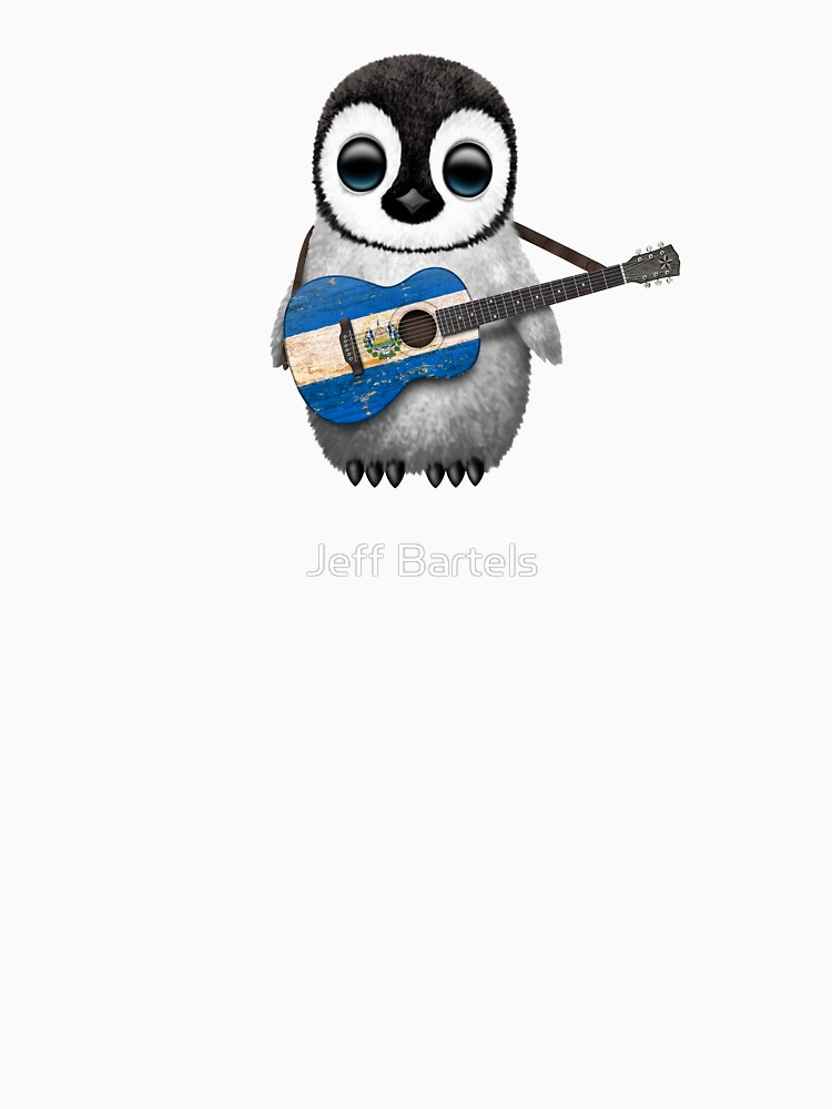 750x1000 Baby Penguin Playing El Salvador Flag Guitar Unisex T Shirt By