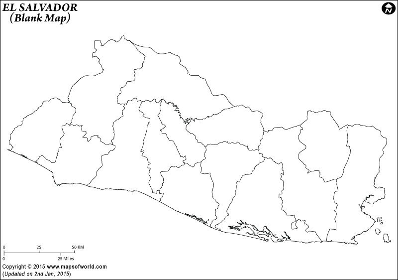 800x562 Blank Map Of El Salvador El Salvador Outline Map