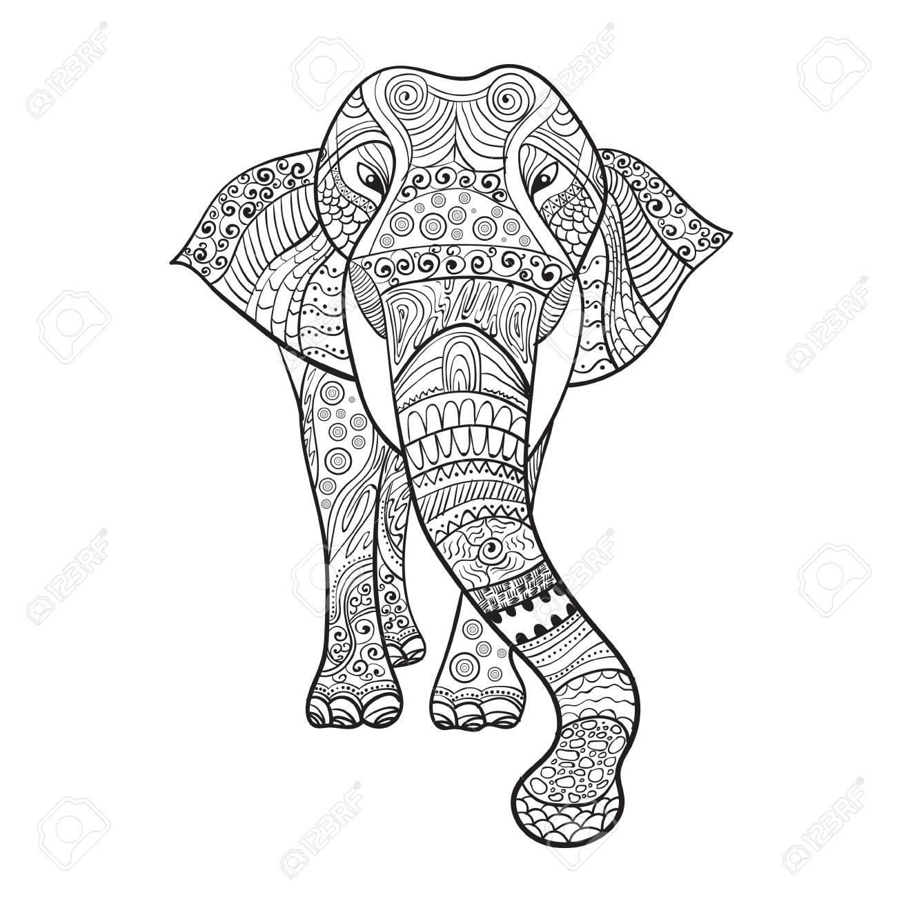 1300x1300 Elaphant Zentangle Animal For Coloring Book Vector Illustration