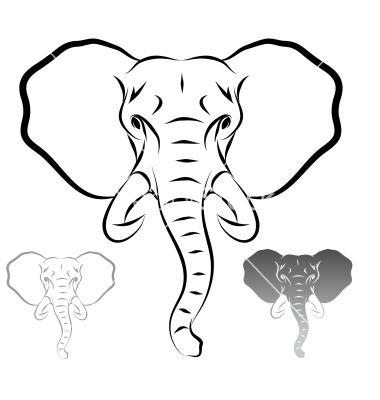 380x400 Simple Elephant Outline Group (78+)