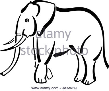 383x320 Tattoo Style Illustration Of An Elephant Head With Trunk Raised Up