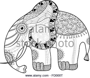 368x320 Drawing Zentangle For Elephant Adult Coloring Page Stock Vector