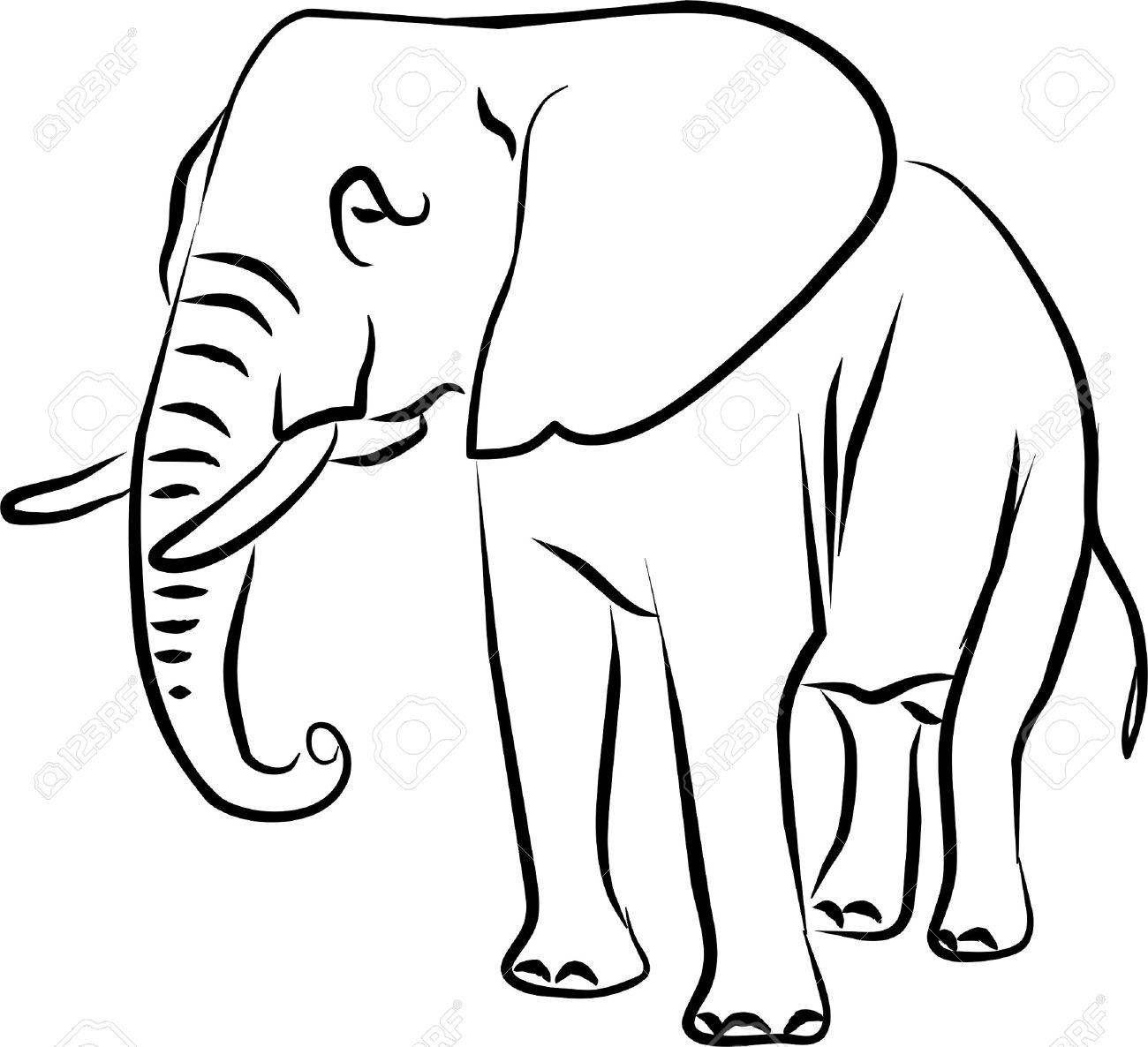 1300x1186 African Elephant Drawing Big Eared Black And White Royalty Free