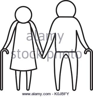 309x320 A Silhouette Of A Senior Elderly Couple In Conversation. Model