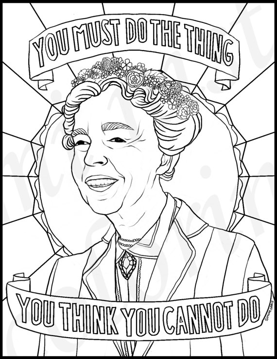 570x738 Eleanor Roosevelt Portraits Coloring Pages For Adults