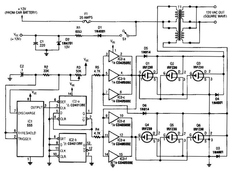 3 Phase Inverter Circuit Diagram Wiring Schematic