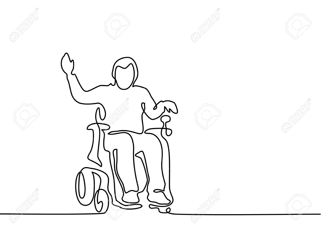 1300x975 Continuous Line Drawing. Disabled Man On Electric Wheelchair
