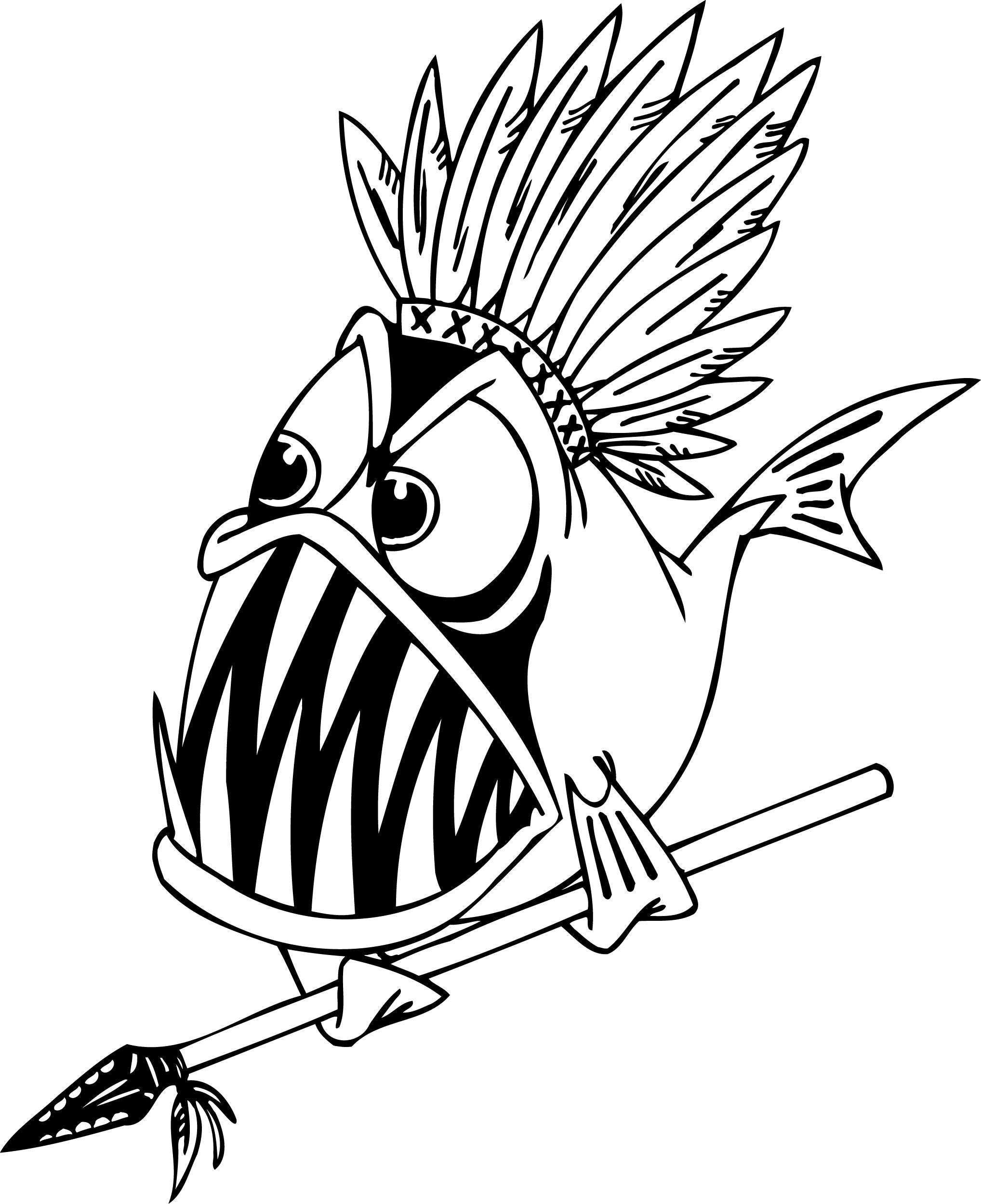 2036x2500 Coloring Pages Of A Piranha Fish Holding A Spear For Preschoolers