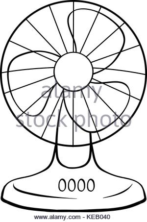 300x453 Close Up Of An Electric Fan Blowing Attached Streamers Stock Photo
