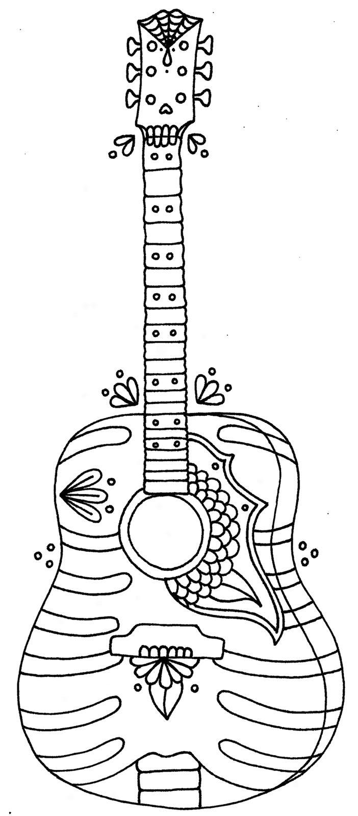 702x1600 Drawn Guitar Colouring Page
