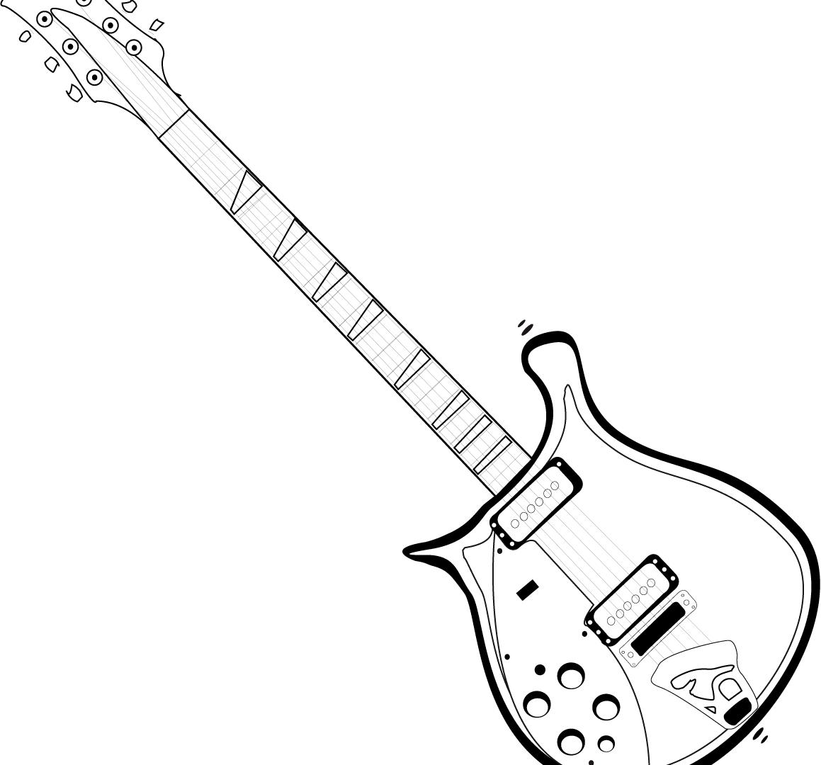 electric guitar outline drawing at getdrawings com