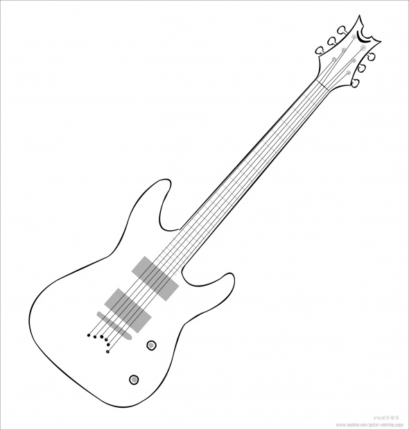 590x620 Acoustic Guitar Coloring Pages Electric Outline At Gets For