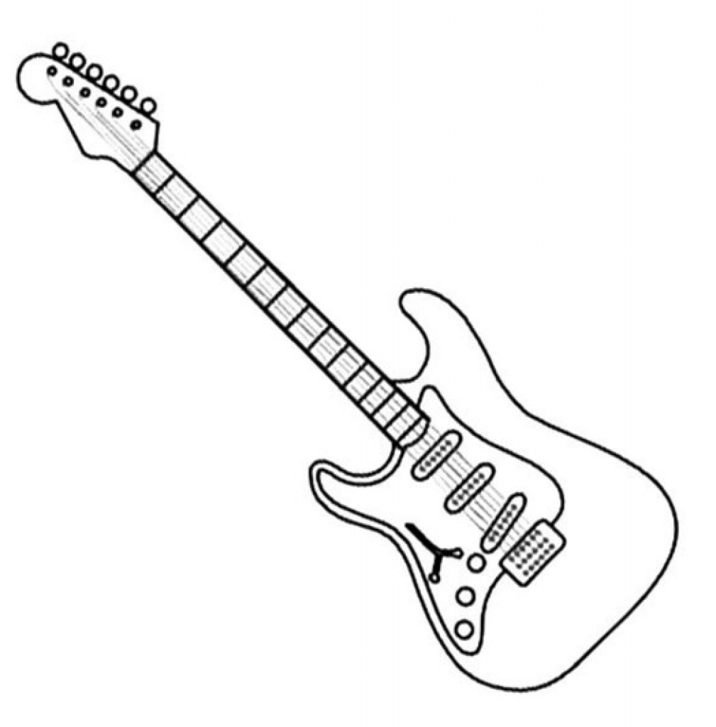 1009x1024 Simple Electric Guitar Coloring Page Bass Pages