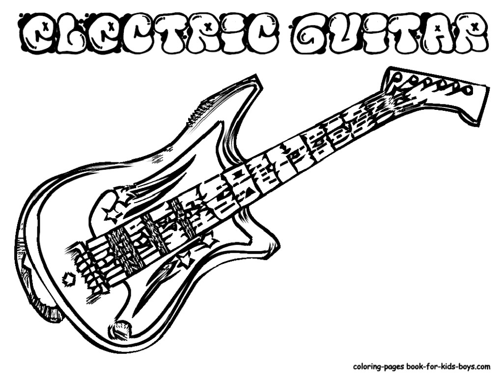 1024x791 Electric Guitar Coloring Page