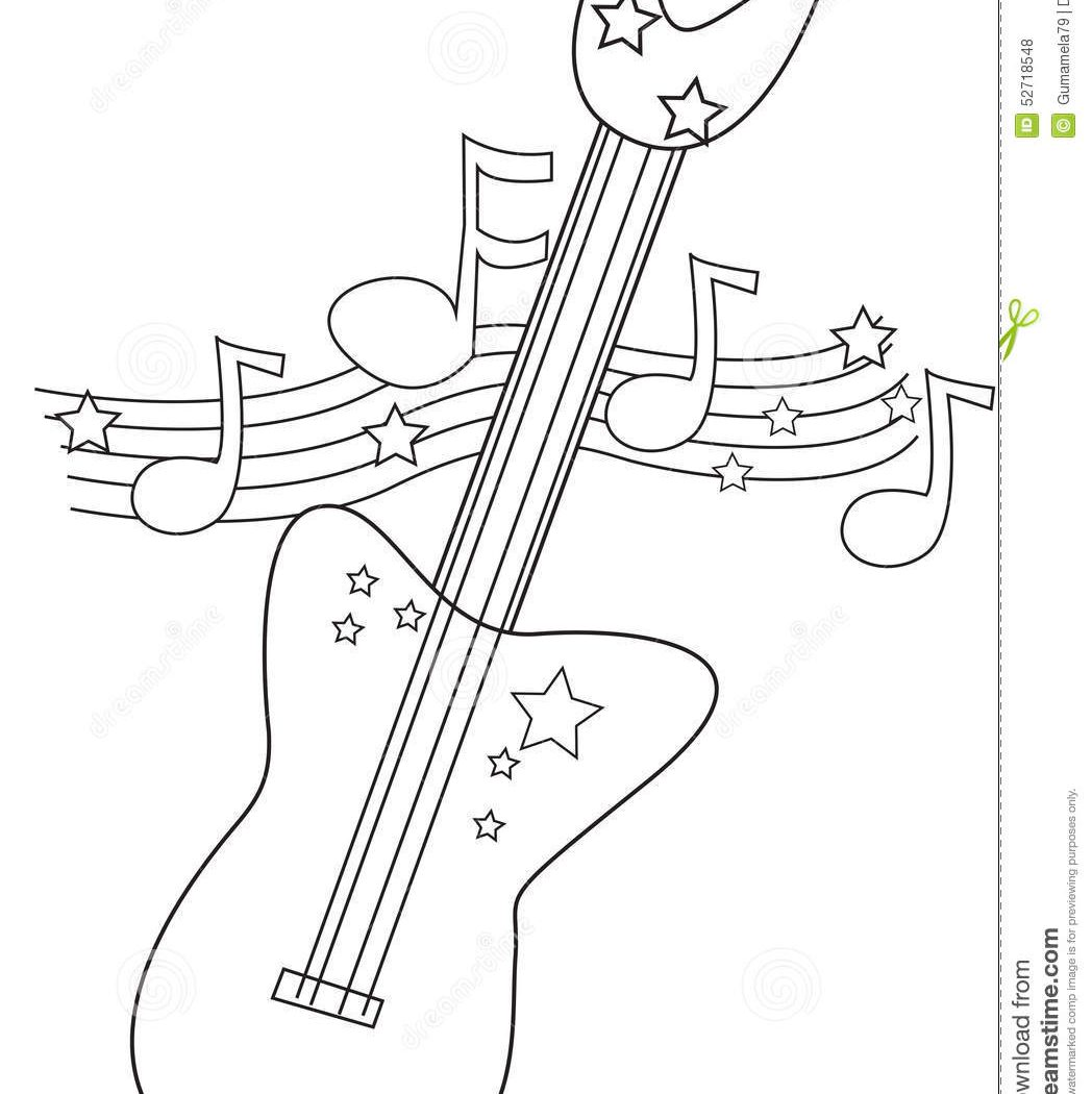 1048x1050 Good Acoustic Guitar Coloring Page Printable And Electric Pages