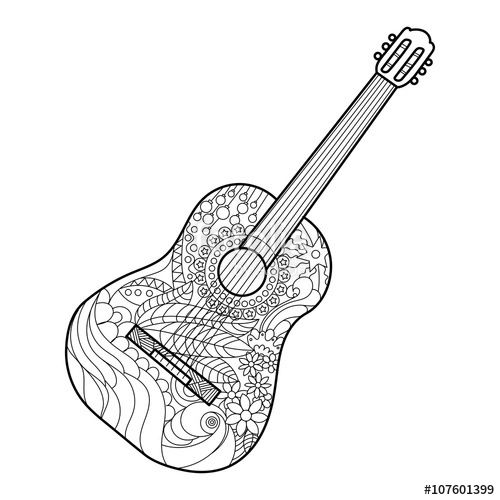 500x500 Music Coloring Pages For Adults Images And Instrument Guitar