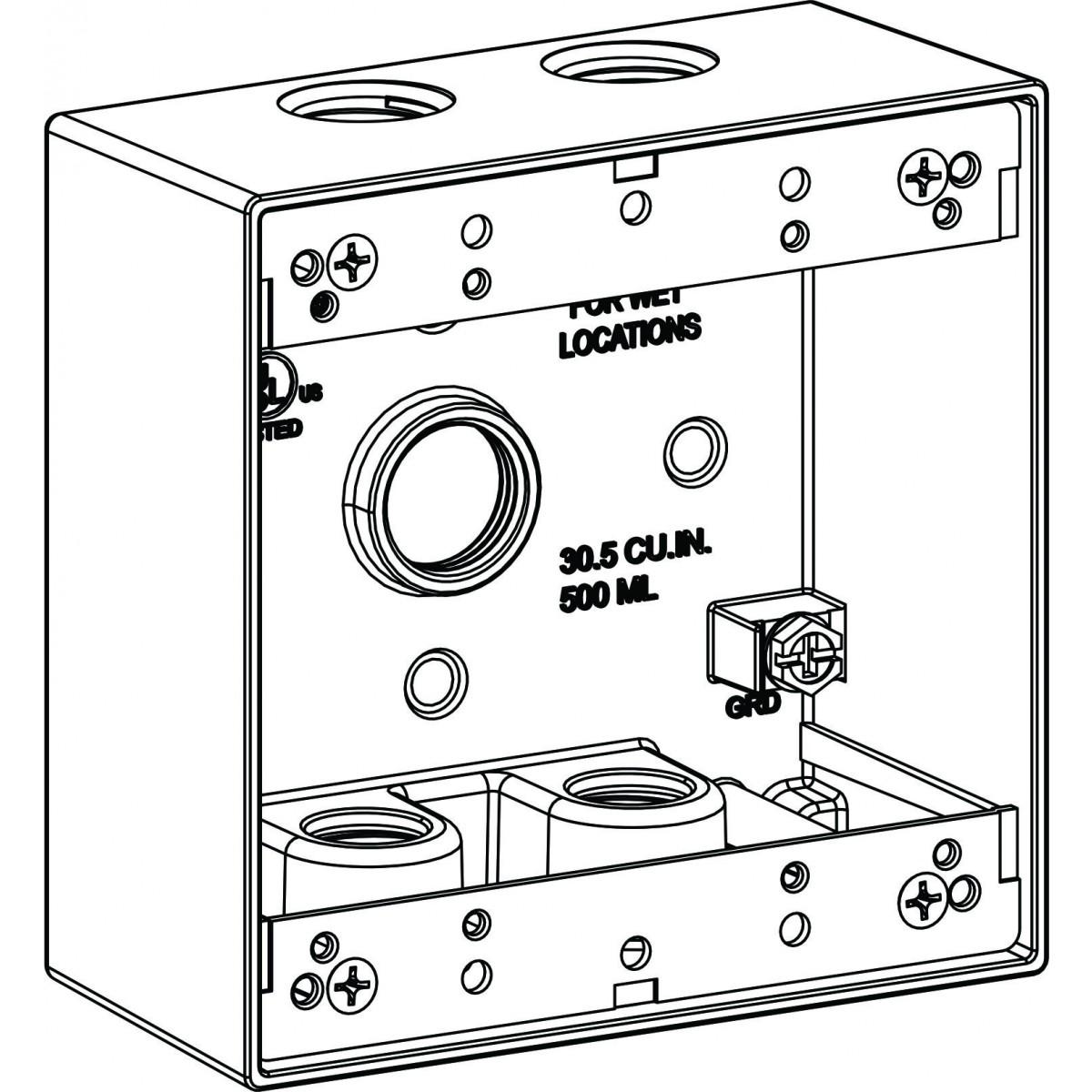 1200x1200 2 Gang Electrical Box Drawing