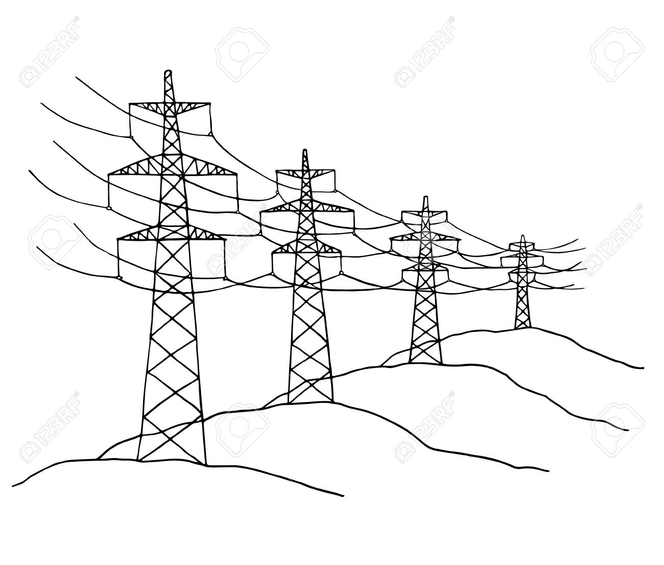 1300x1105 Cartoon Power Lines Delivering Energy Standing In A Row. Sketch