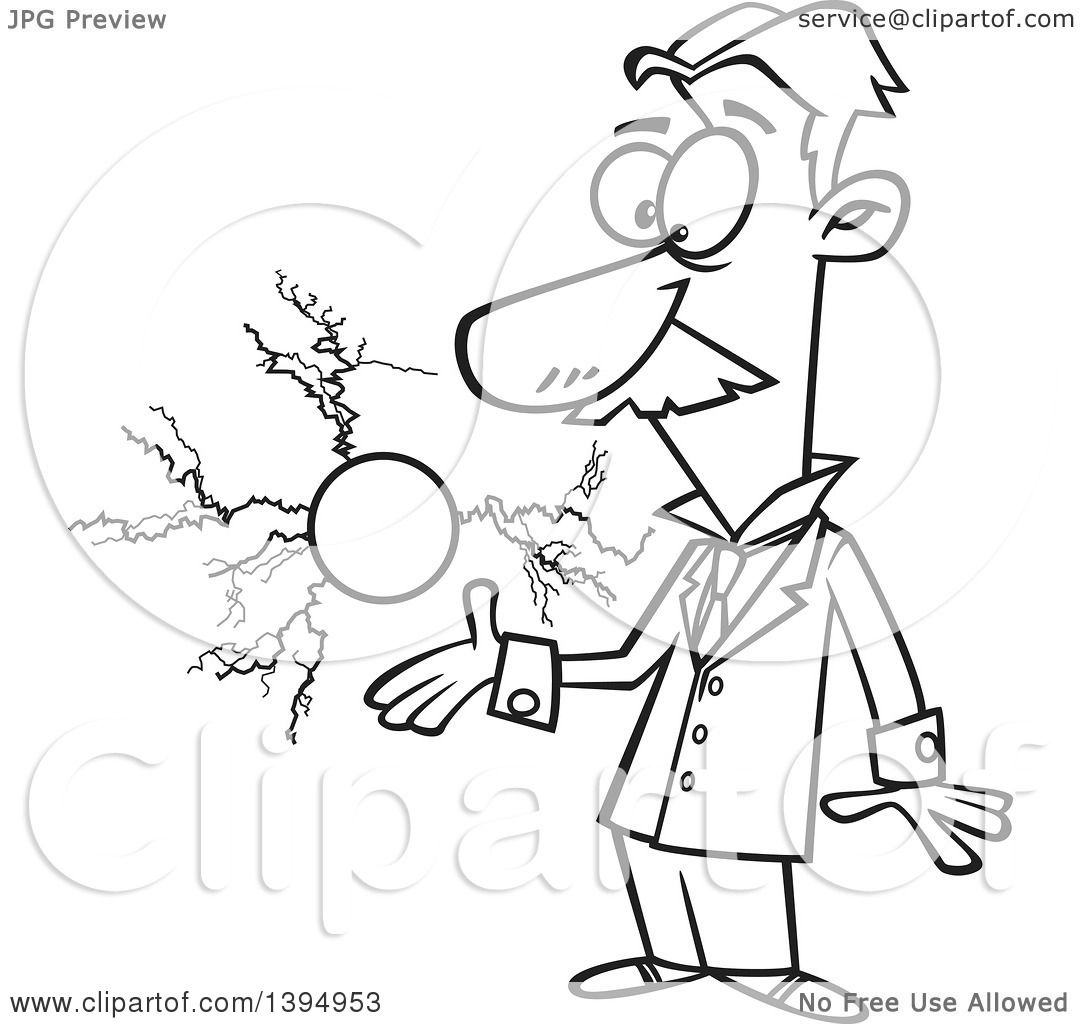 1080x1024 Clipart Of A Cartoon Black And White Male Electrical Engineer