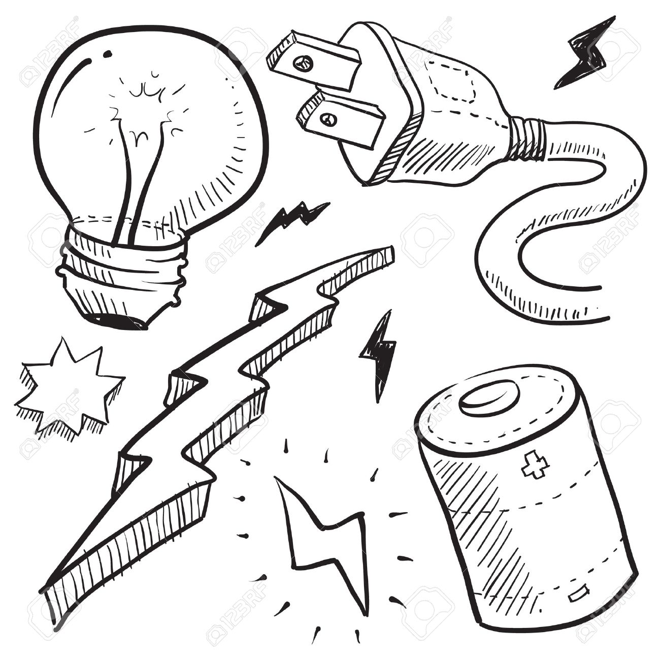 1300x1300 Doodle Style Electricity Or Power Vector Illustration With Cord