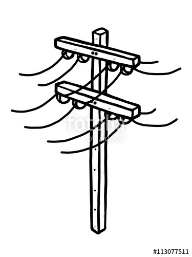 375x500 Electric Post Cartoon Vector And Illustration, Black And White